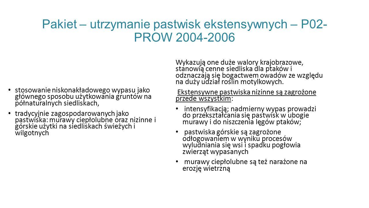 Pakiet – utrzymanie pastwisk ekstensywnych – P02- PROW 2004-2006