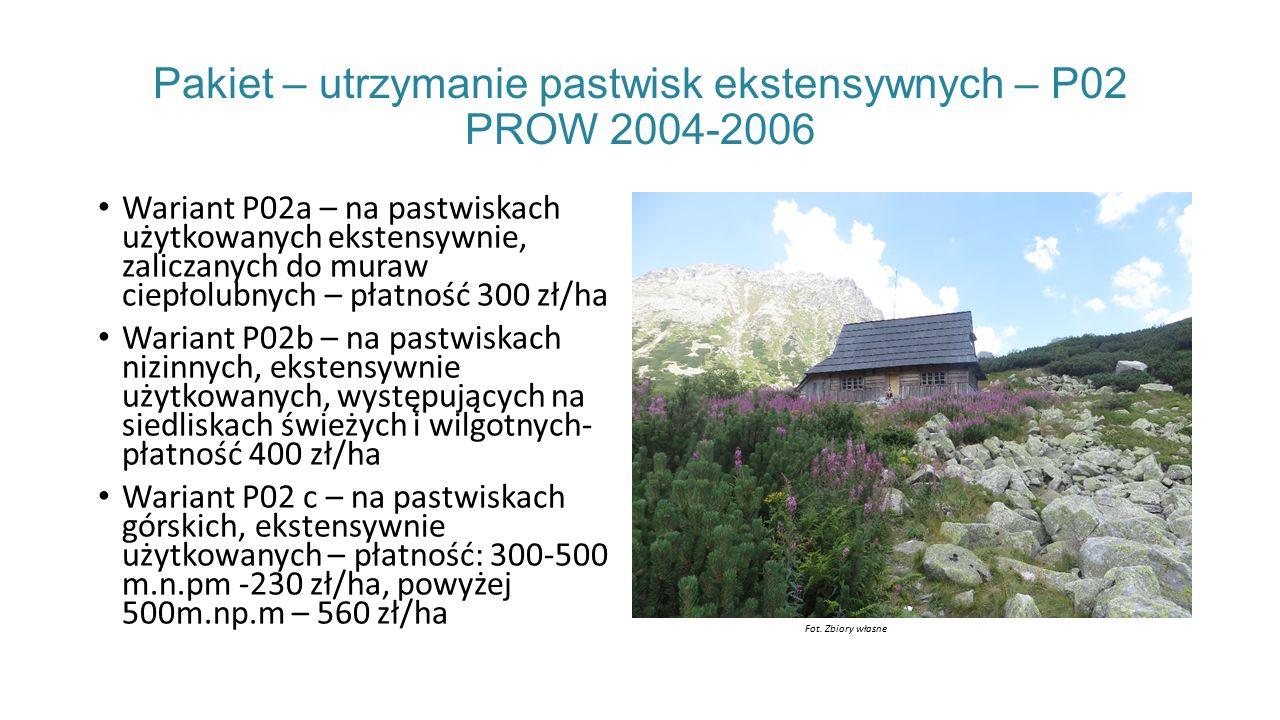 Pakiet – utrzymanie pastwisk ekstensywnych – P02 PROW 2004-2006