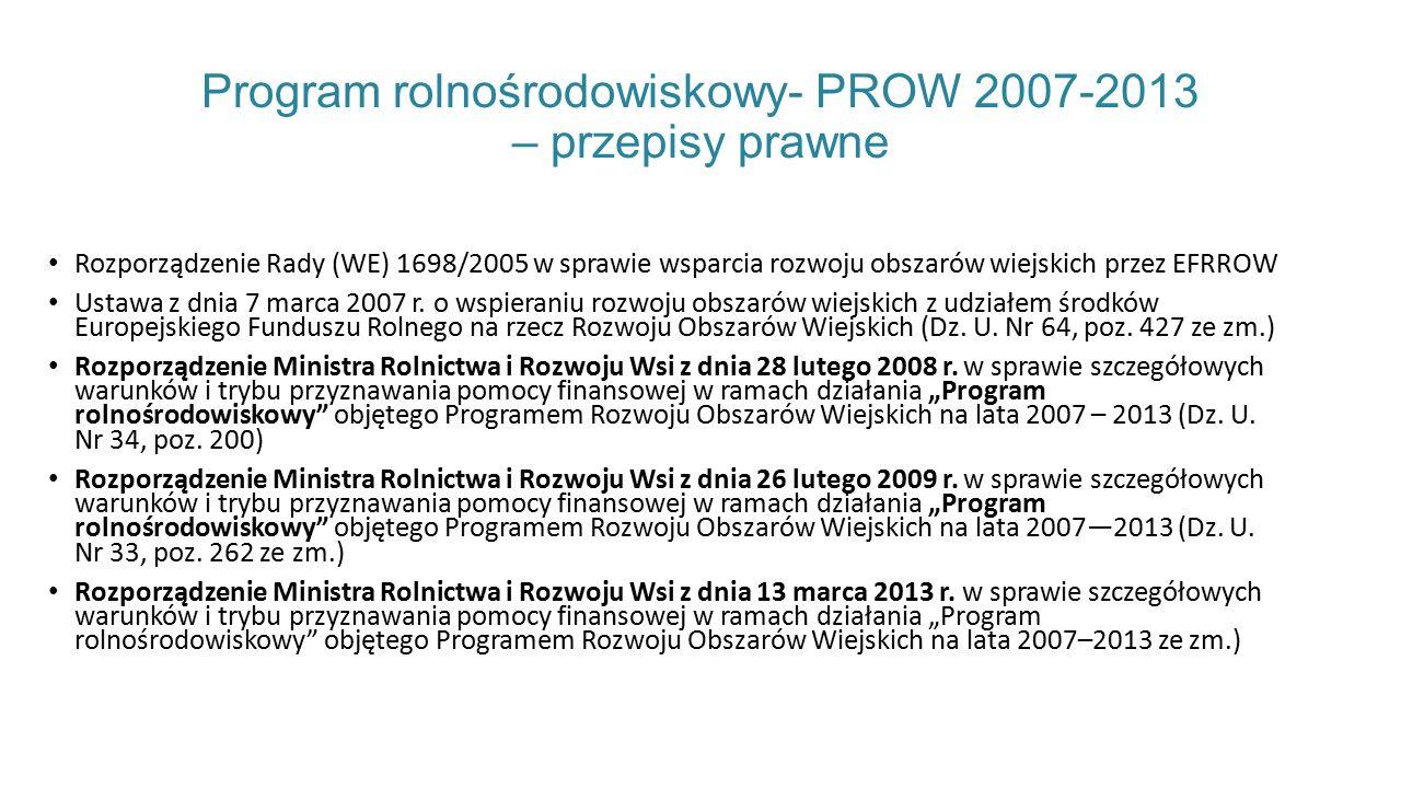 Program rolnośrodowiskowy- PROW 2007-2013 – przepisy prawne