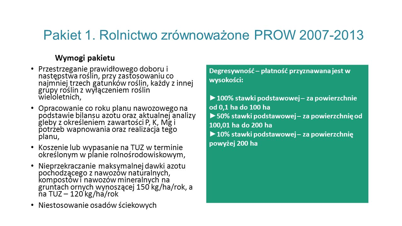Pakiet 1. Rolnictwo zrównoważone PROW 2007-2013