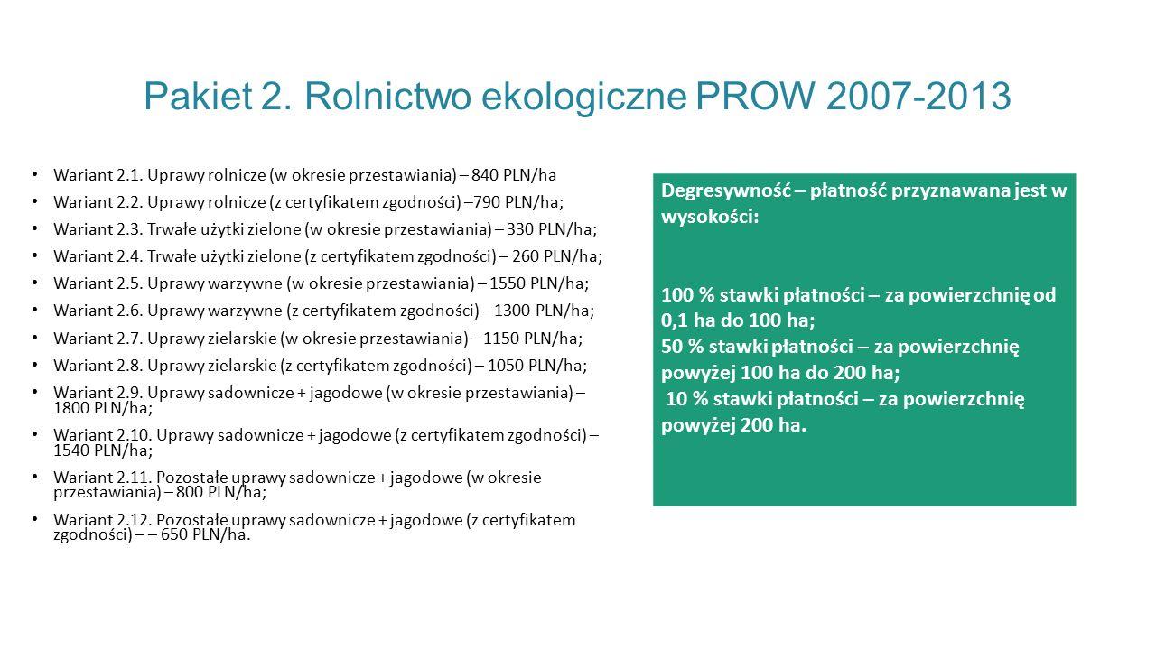 Pakiet 2. Rolnictwo ekologiczne PROW 2007-2013
