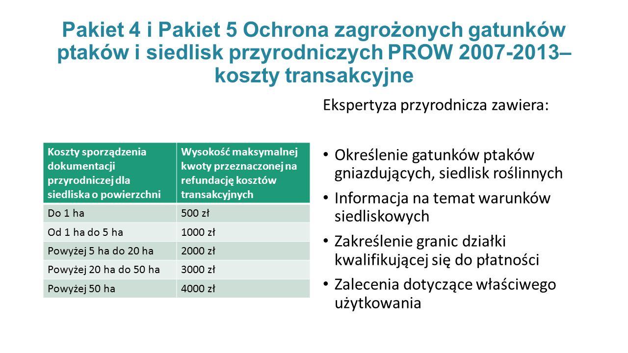 Pakiet 4 i Pakiet 5 Ochrona zagrożonych gatunków ptaków i siedlisk przyrodniczych PROW 2007-2013– koszty transakcyjne