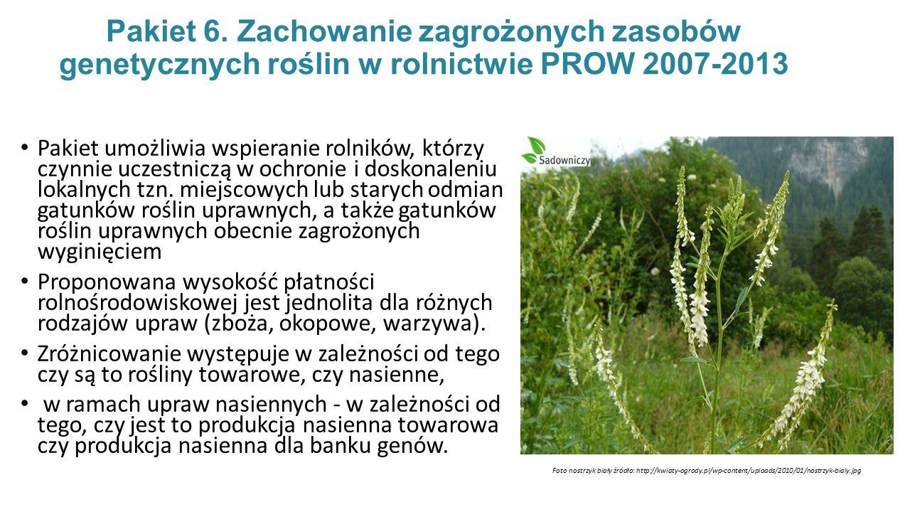 Pakiet 6. Zachowanie zagrożonych zasobów genetycznych roślin w rolnictwie PROW 2007-2013