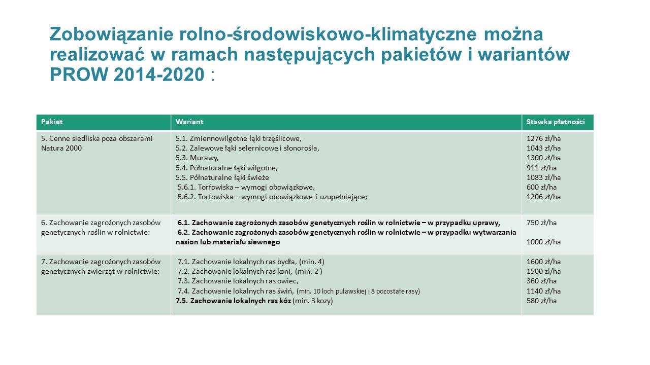 Zobowiązanie rolno-środowiskowo-klimatyczne można realizować w ramach następujących pakietów i wariantów PROW 2014-2020 :