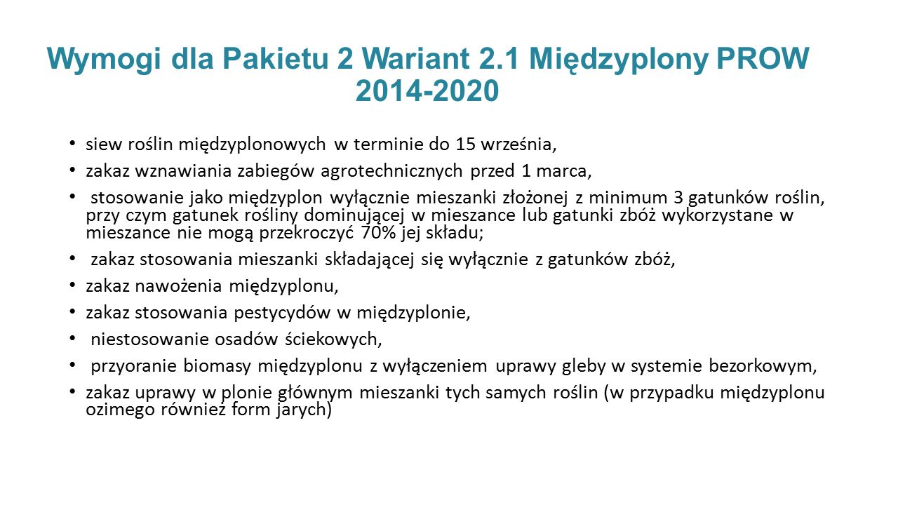 Wymogi dla Pakietu 2 Wariant 2.1 Międzyplony PROW 2014-2020