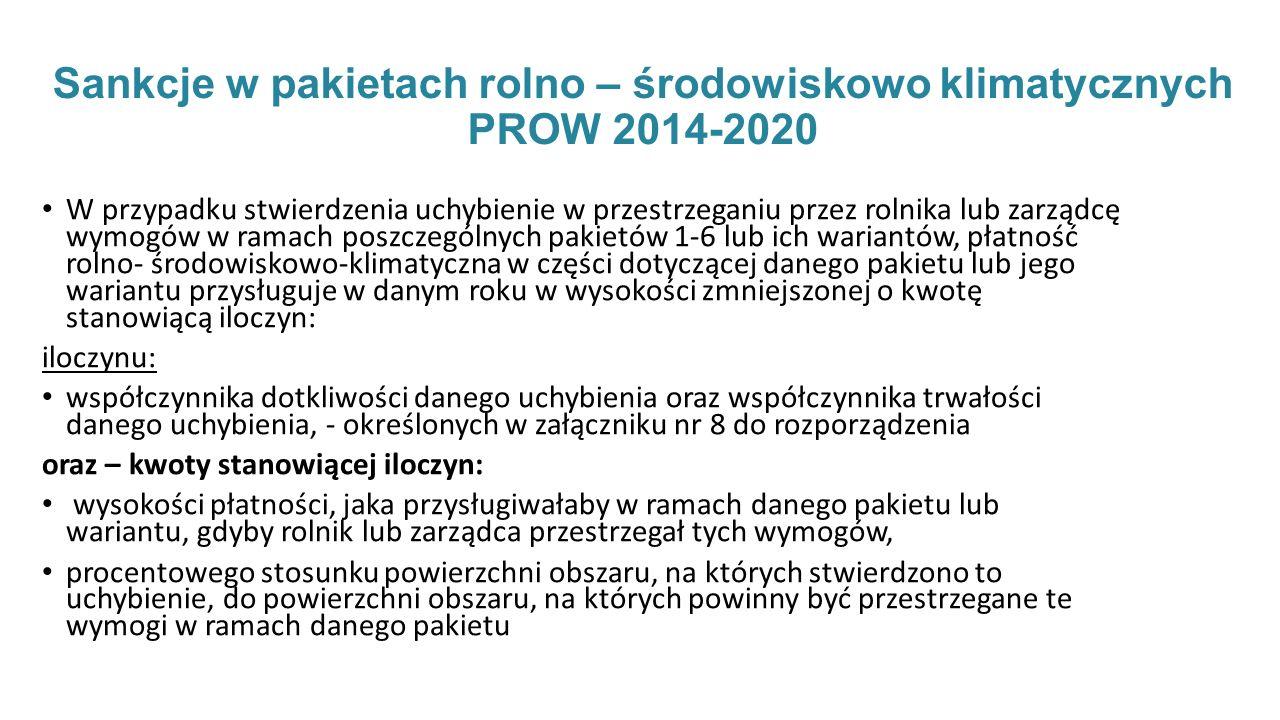 Sankcje w pakietach rolno – środowiskowo klimatycznych PROW 2014-2020