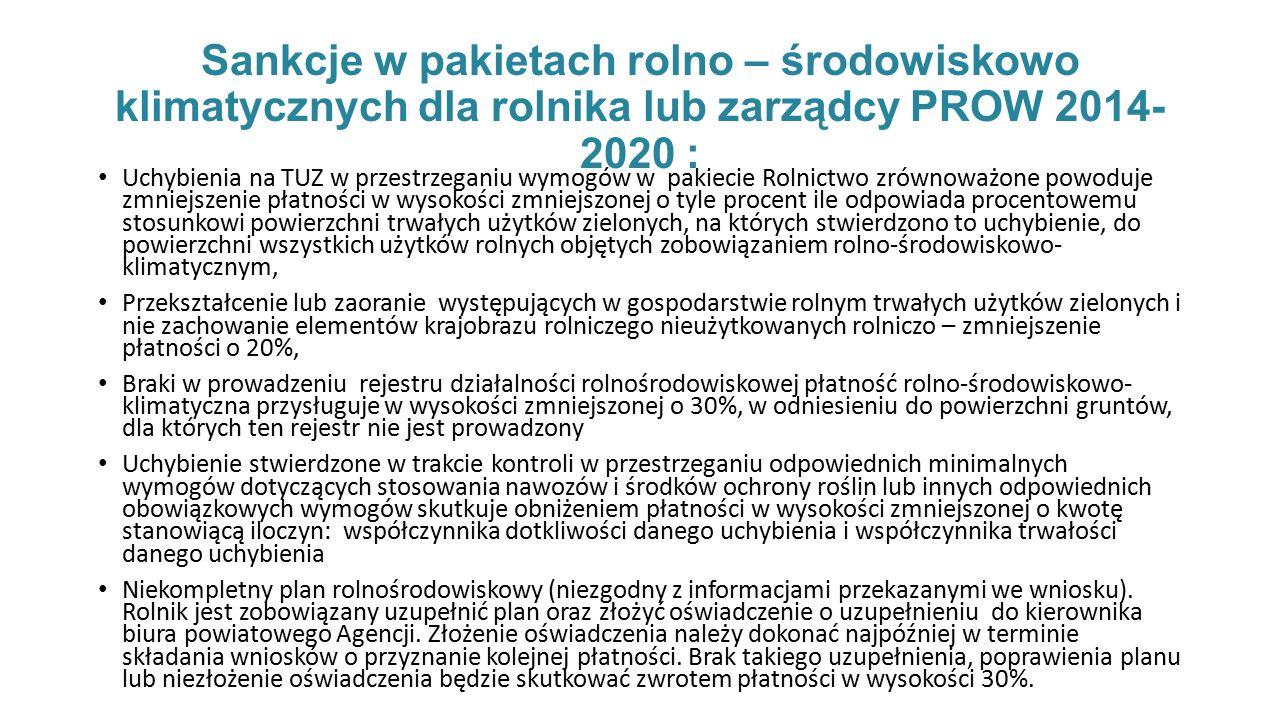Sankcje w pakietach rolno – środowiskowo klimatycznych dla rolnika lub zarządcy PROW 2014-2020 :