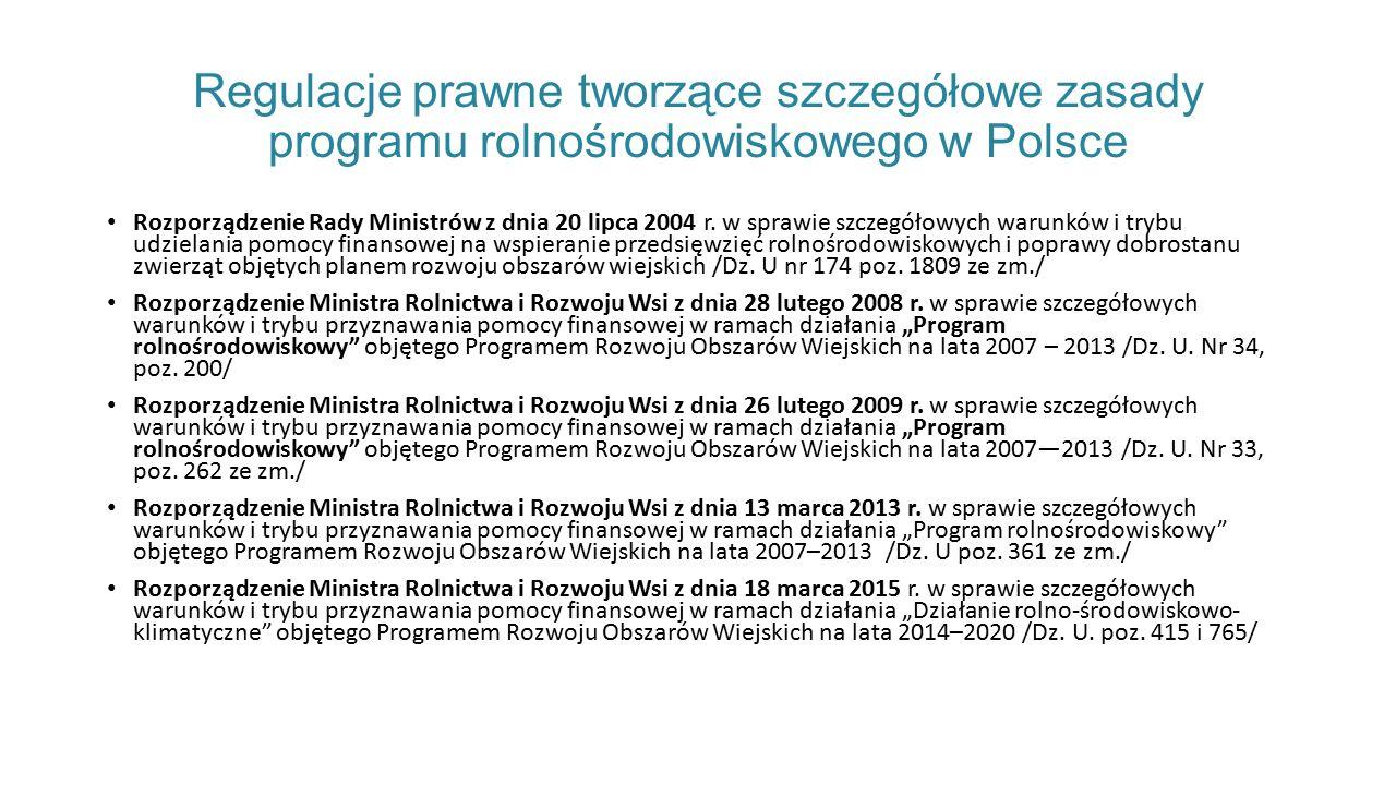 Regulacje prawne tworzące szczegółowe zasady programu rolnośrodowiskowego w Polsce