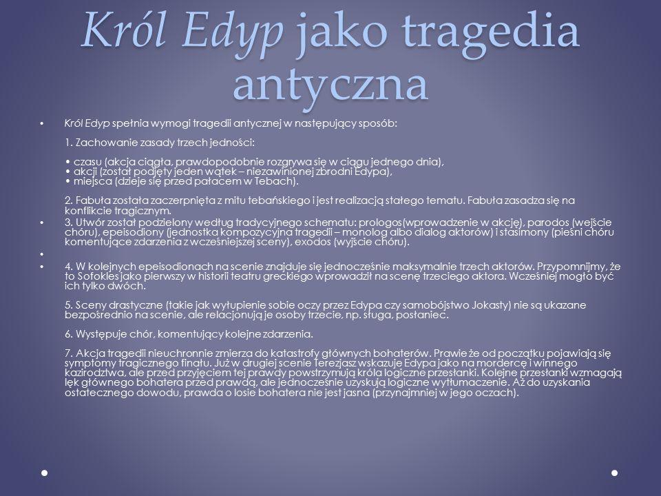 Król Edyp jako tragedia antyczna
