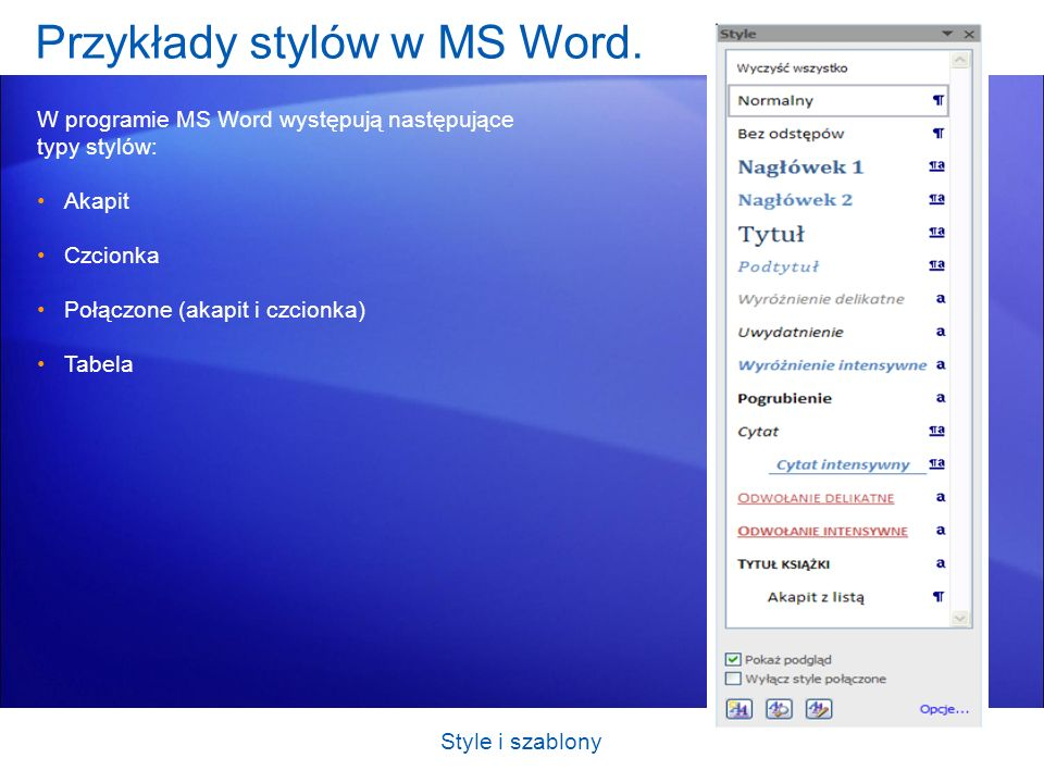Przykłady stylów w MS Word.
