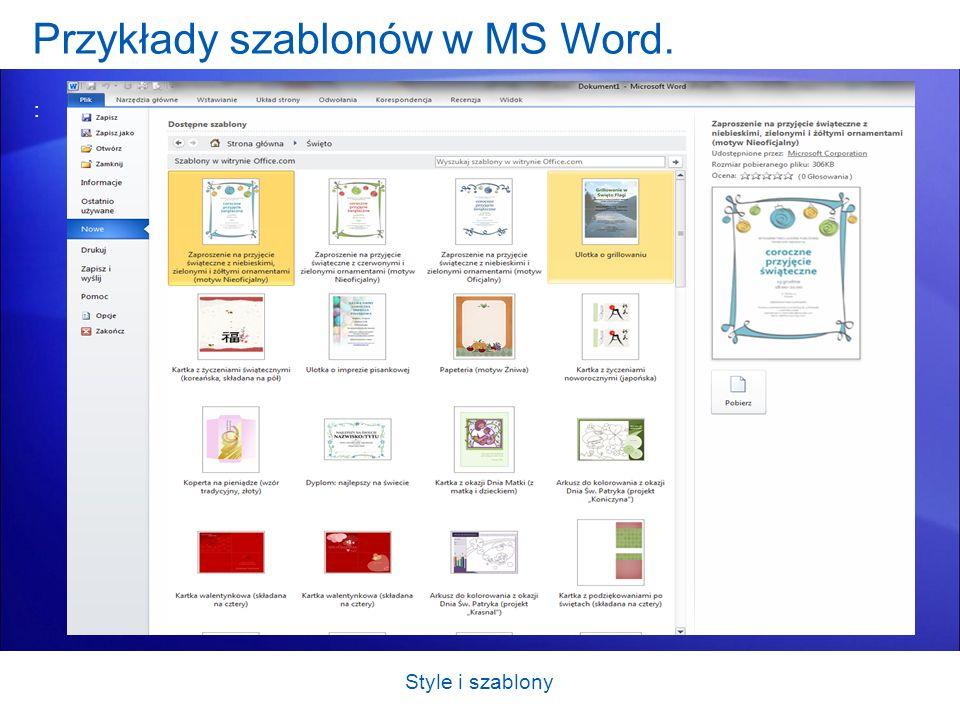 Przykłady szablonów w MS Word.