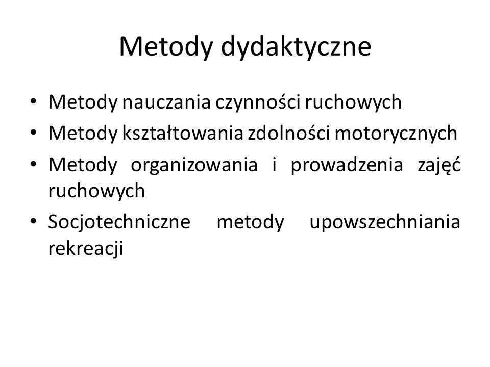 Metody dydaktyczne Metody nauczania czynności ruchowych