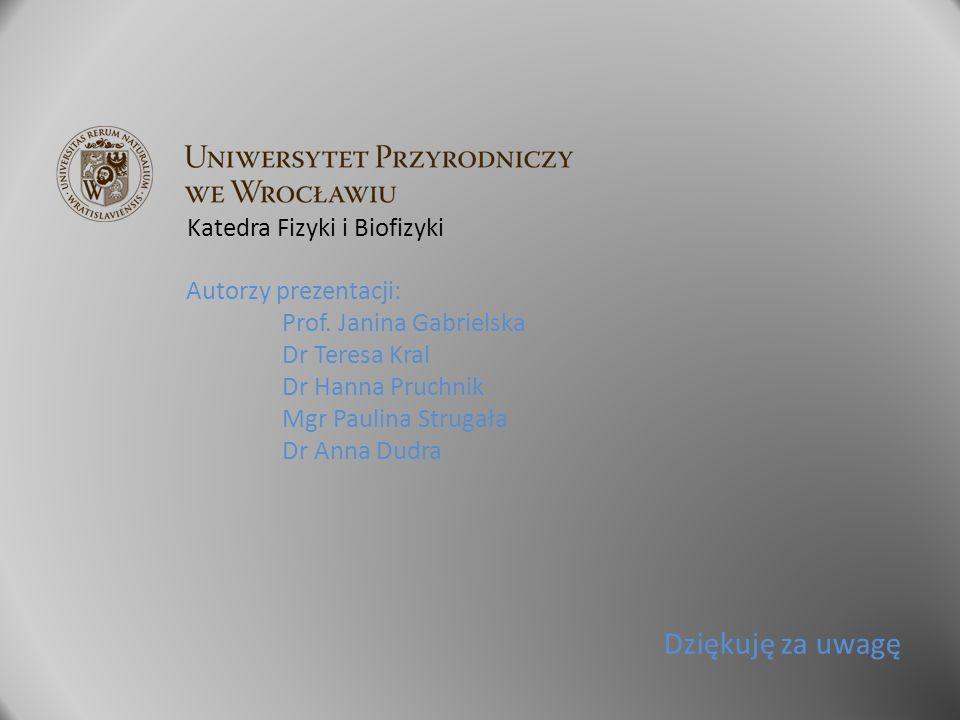 Dziękuję za uwagę Katedra Fizyki i Biofizyki Autorzy prezentacji: