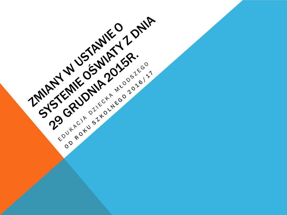 Zmiany w ustawie o systemie oświaty z dnia 29 grudnia 2015r.