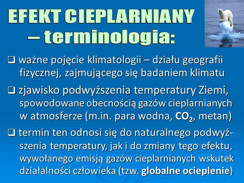 EFEKT CIEPLARNIANY – terminologia: