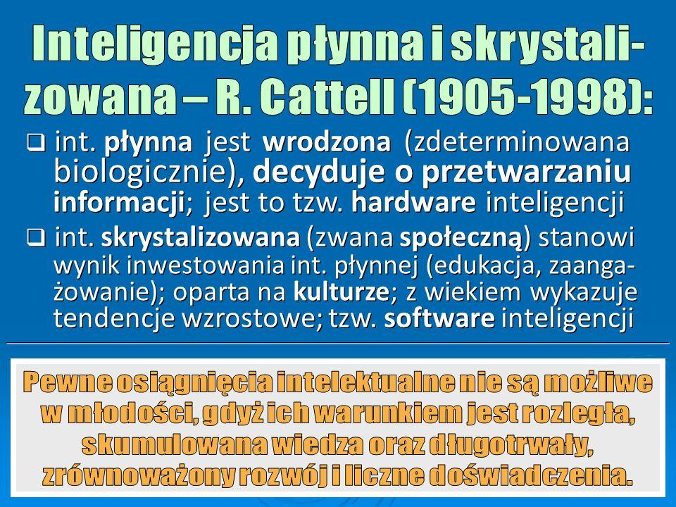 Inteligencja płynna i skrystali- zowana – R. Cattell (1905-1998):