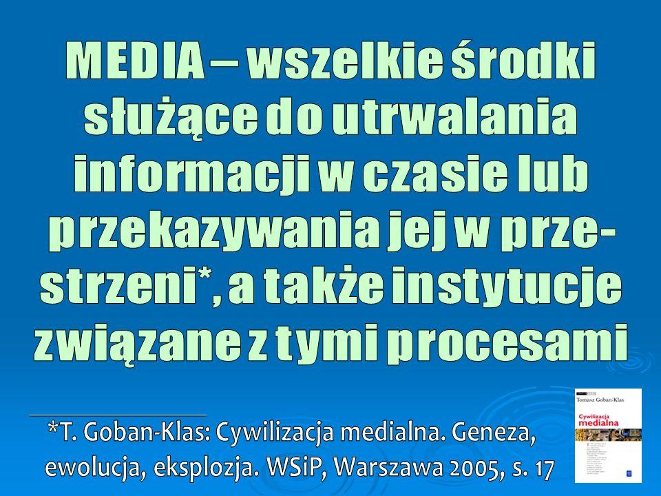 MEDIA – wszelkie środki służące do utrwalania informacji w czasie lub