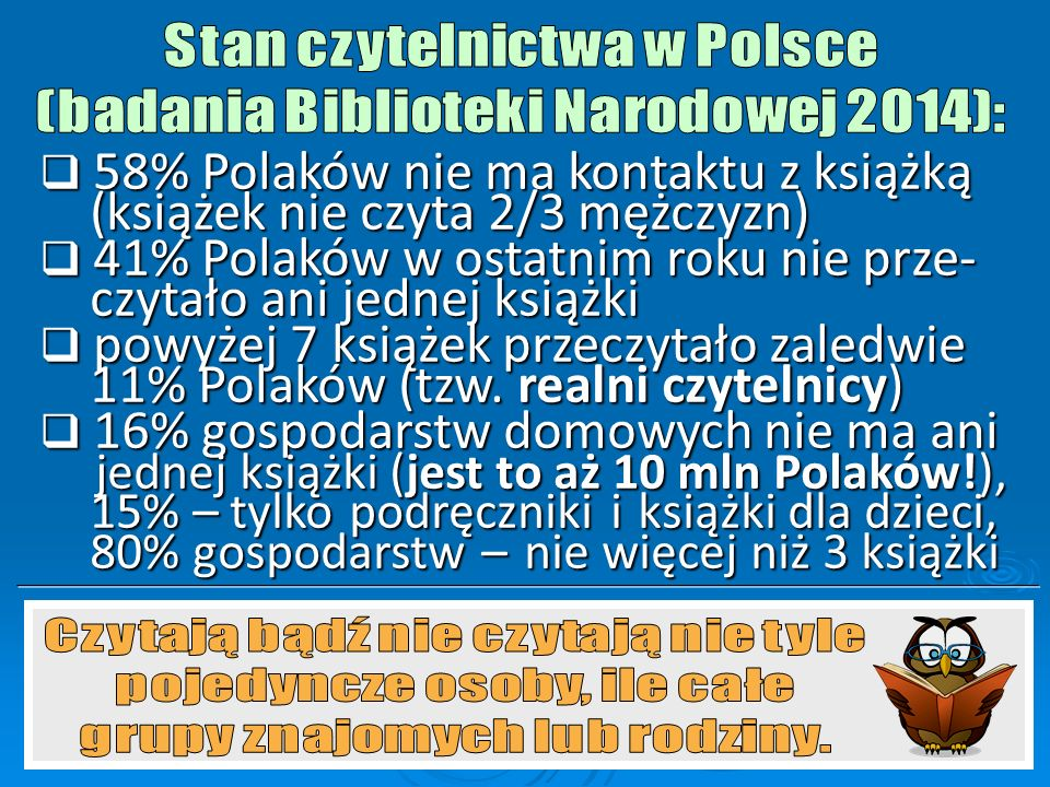 58% Polaków nie ma kontaktu z książką (książek nie czyta 2/3 mężczyzn)