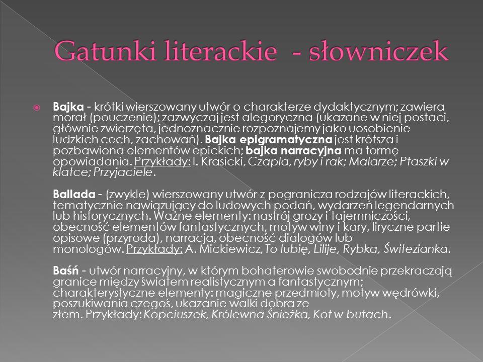 Gatunki literackie - słowniczek