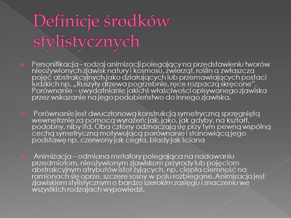 Definicje środków stylistycznych