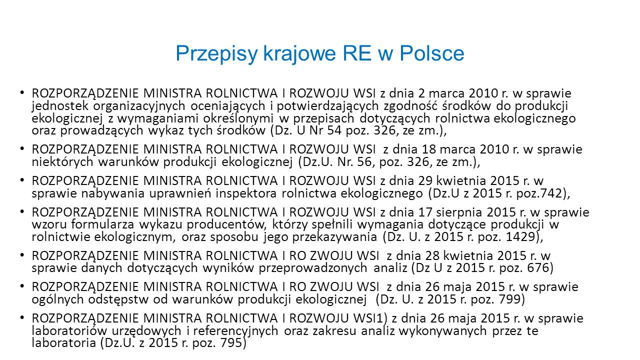 Przepisy krajowe RE w Polsce