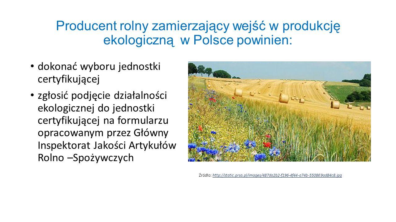 Producent rolny zamierzający wejść w produkcję ekologiczną w Polsce powinien: