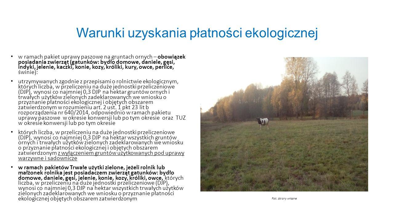 Warunki uzyskania płatności ekologicznej