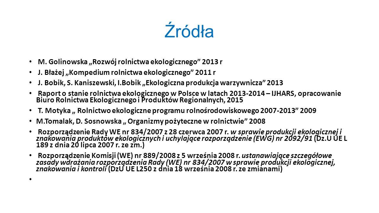 """Źródła M. Golinowska """"Rozwój rolnictwa ekologicznego 2013 r"""