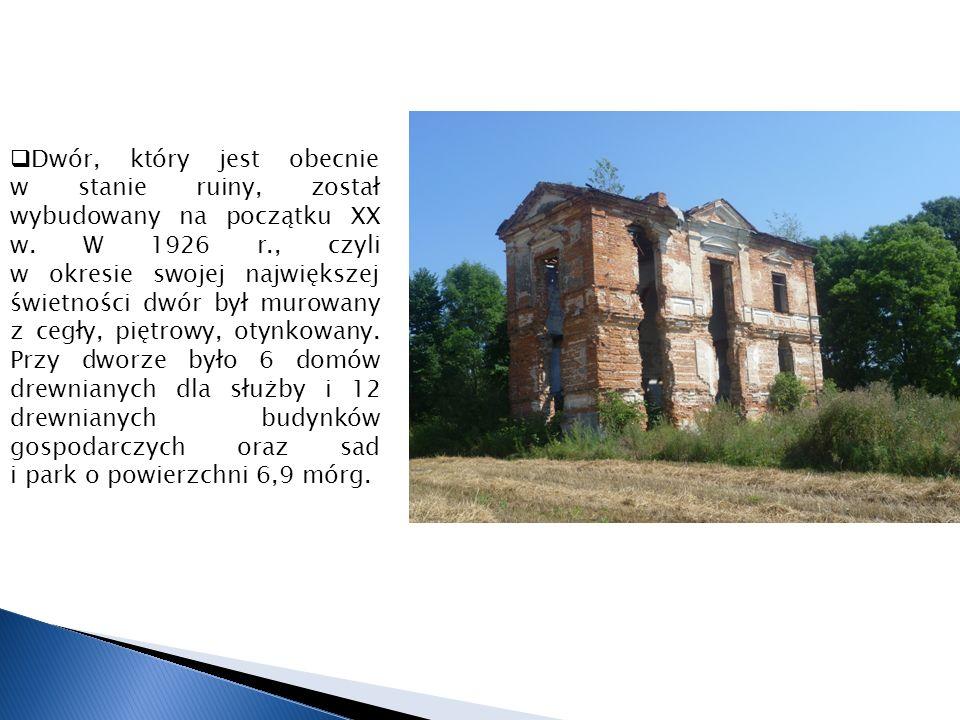 Dwór, który jest obecnie w stanie ruiny, został wybudowany na początku XX w.