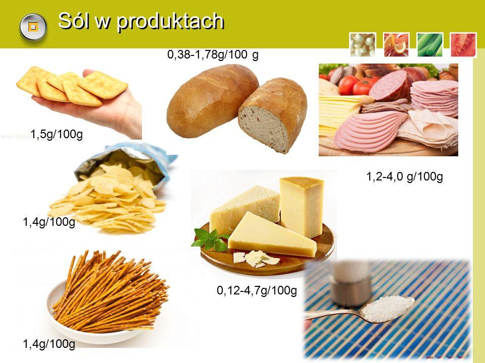 Sól w produktach 0,38-1,78g/100 g 1,5g/100g 1,2-4,0 g/100g 1,4g/100g