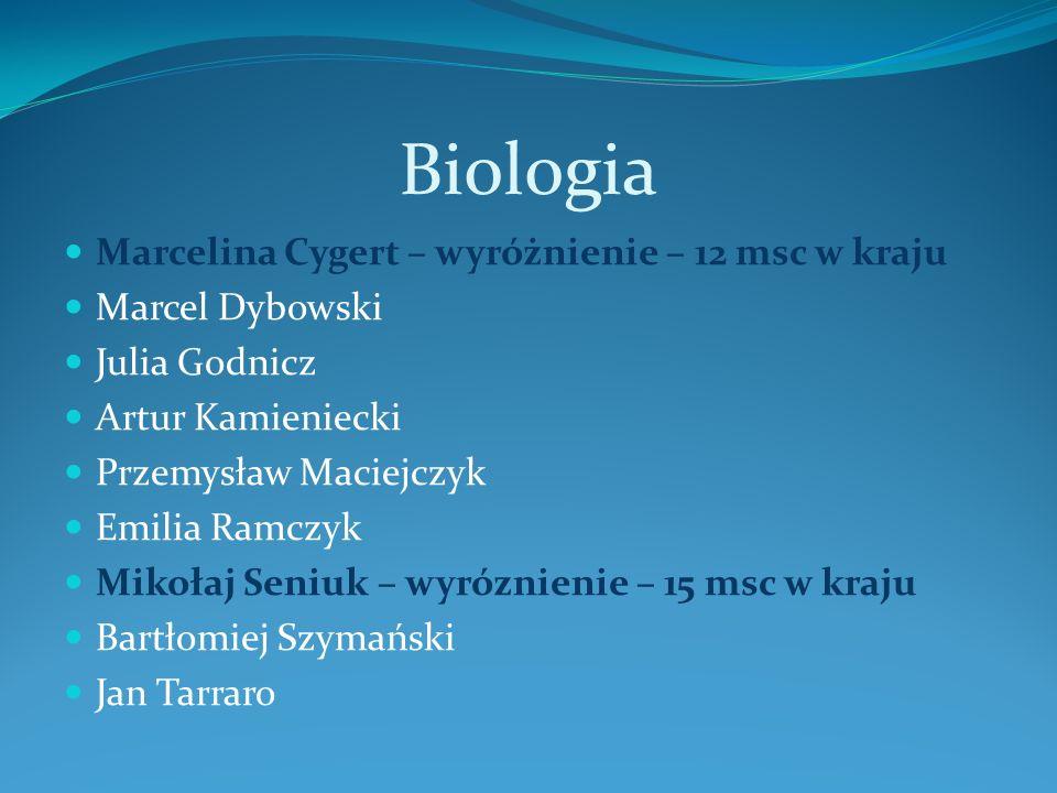 Biologia Marcelina Cygert – wyróżnienie – 12 msc w kraju