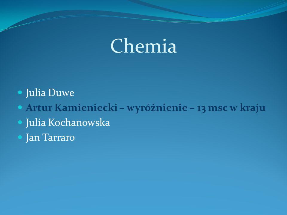 Chemia Julia Duwe Artur Kamieniecki – wyróżnienie – 13 msc w kraju