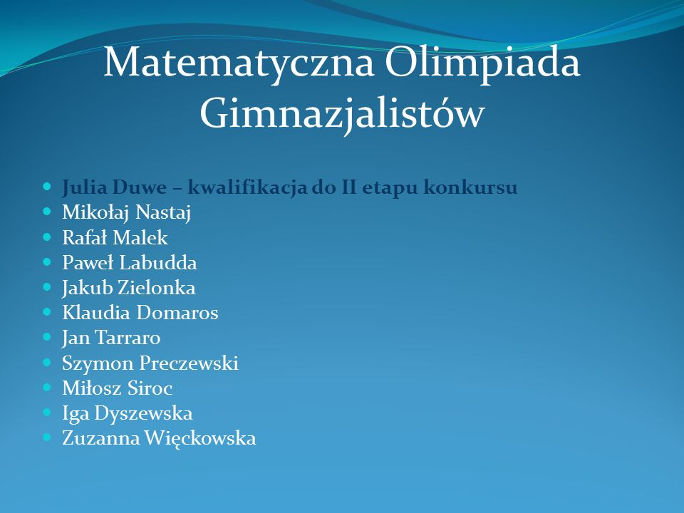 Matematyczna Olimpiada Gimnazjalistów