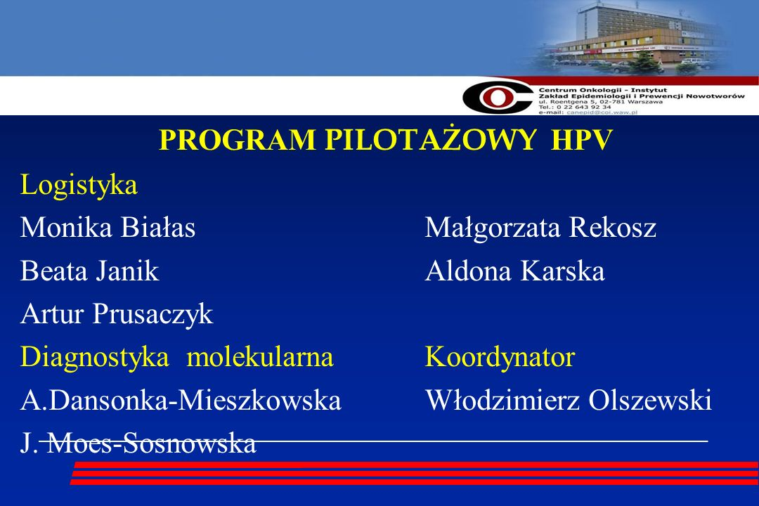 PROGRAM PILOTAŻOWY HPV