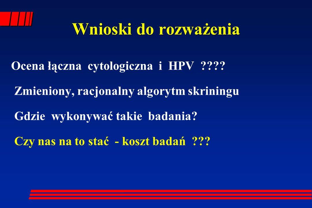 Wnioski do rozważenia Ocena łączna cytologiczna i HPV