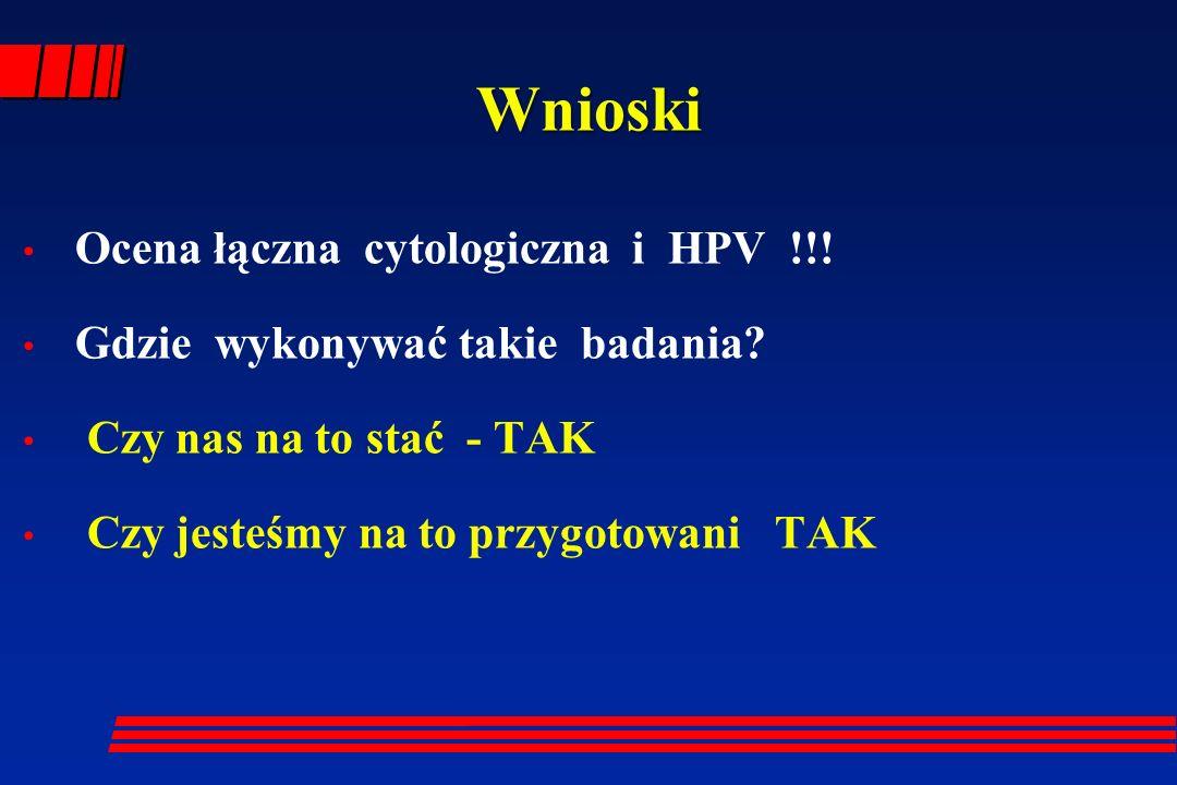 Wnioski Ocena łączna cytologiczna i HPV !!!