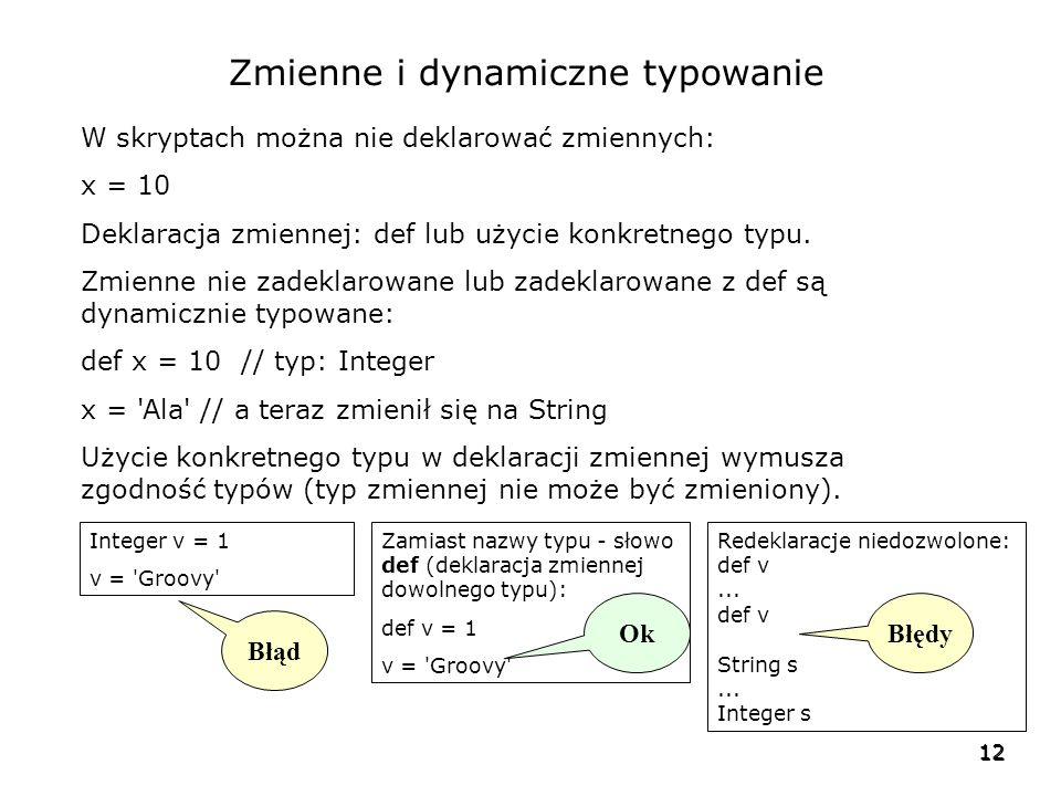 Zmienne i dynamiczne typowanie