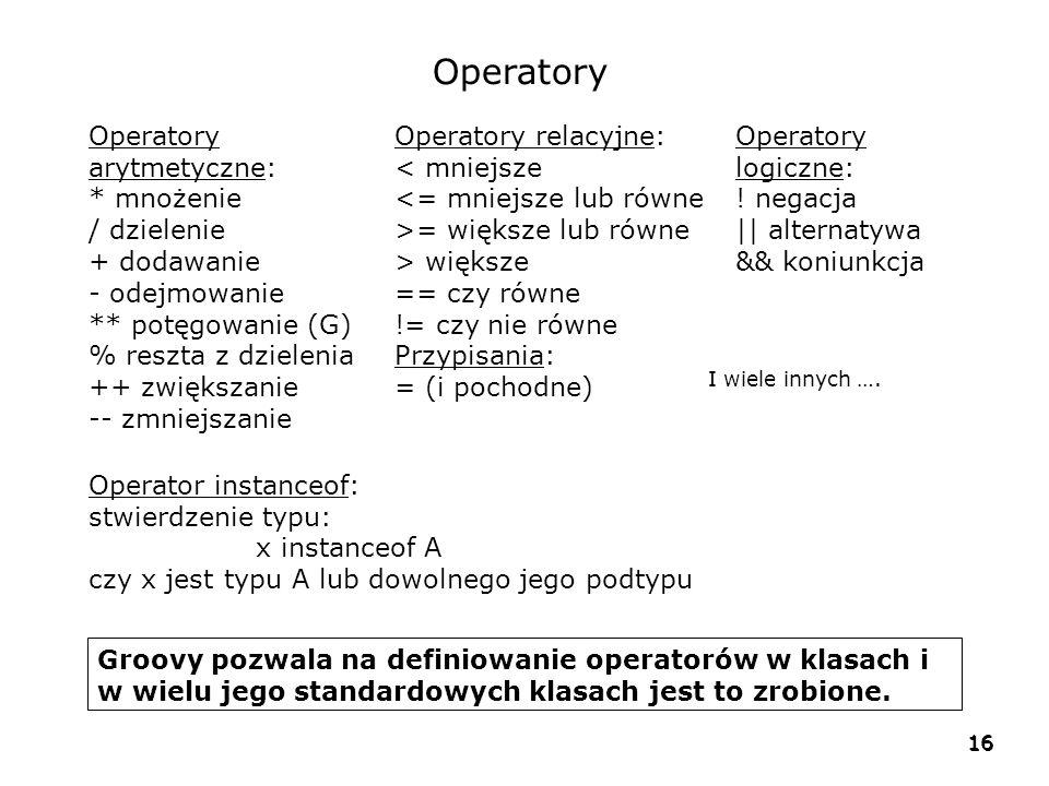 Operatory Operatory arytmetyczne: * mnożenie / dzielenie + dodawanie