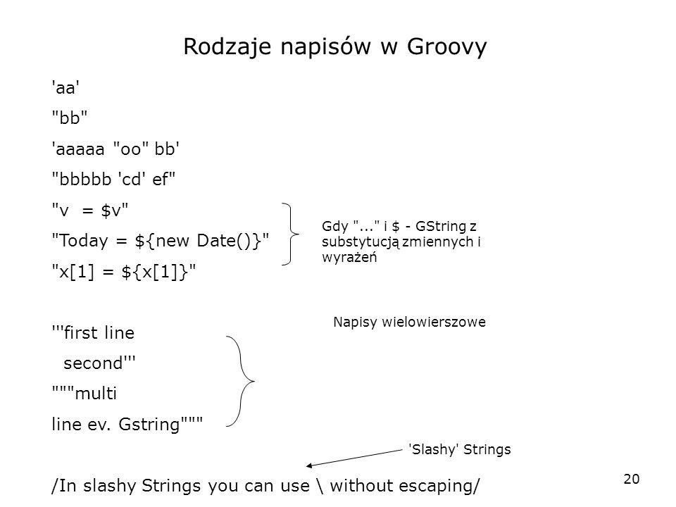 Rodzaje napisów w Groovy