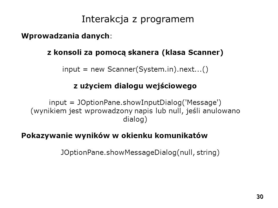 Interakcja z programem