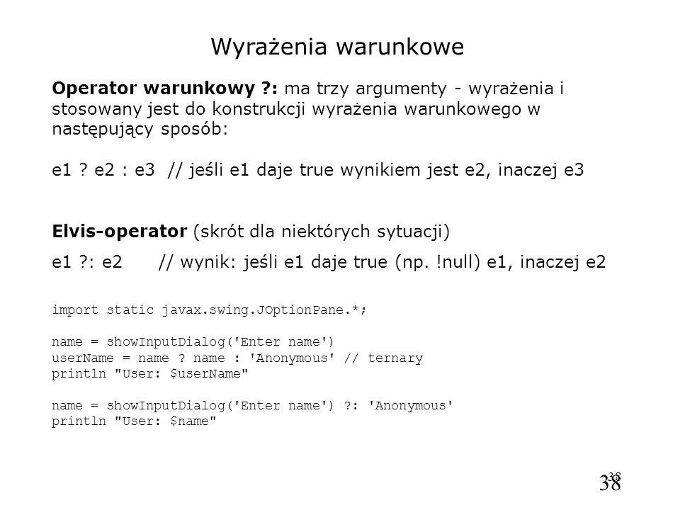 Wyrażenia warunkowe Operator warunkowy : ma trzy argumenty - wyrażenia i stosowany jest do konstrukcji wyrażenia warunkowego w następujący sposób: