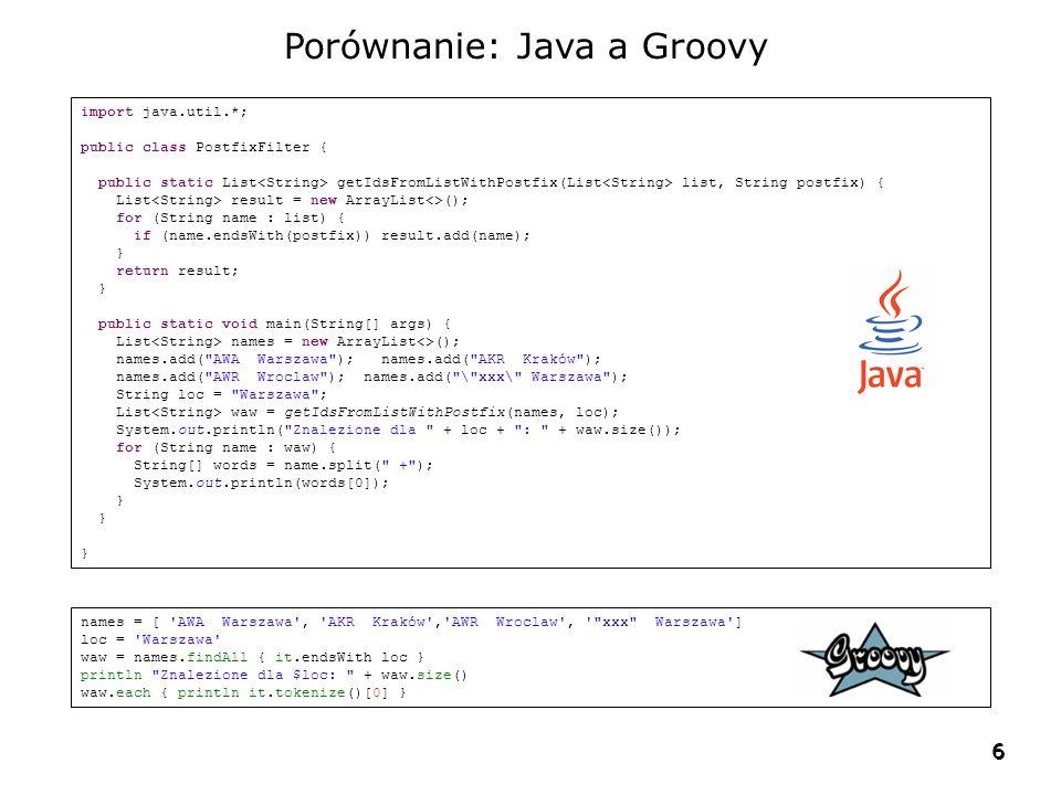 Porównanie: Java a Groovy