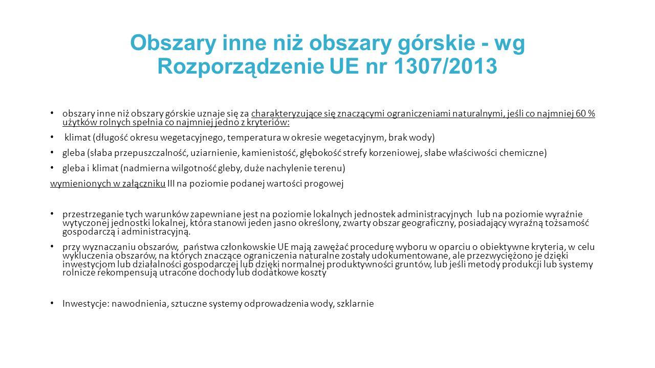 Obszary inne niż obszary górskie - wg Rozporządzenie UE nr 1307/2013