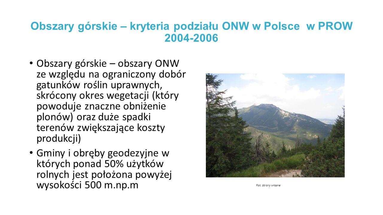 Obszary górskie – kryteria podziału ONW w Polsce w PROW 2004-2006
