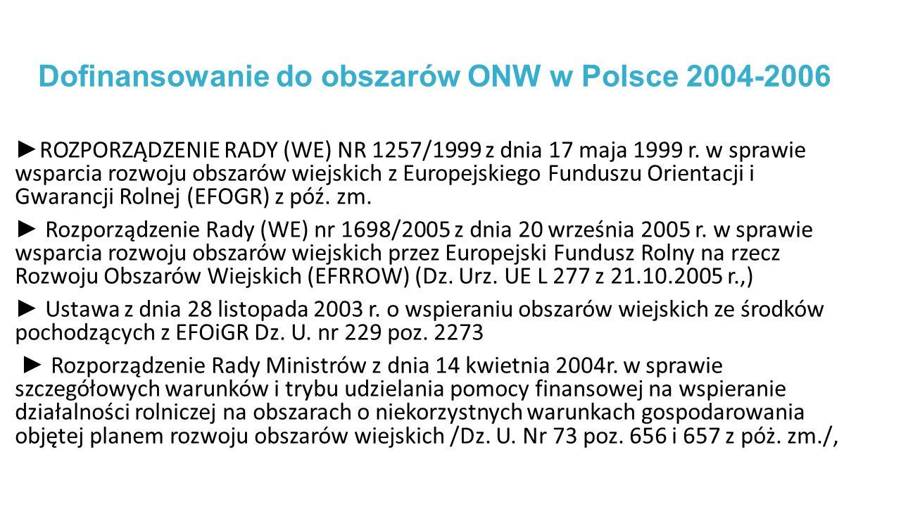 Dofinansowanie do obszarów ONW w Polsce 2004-2006