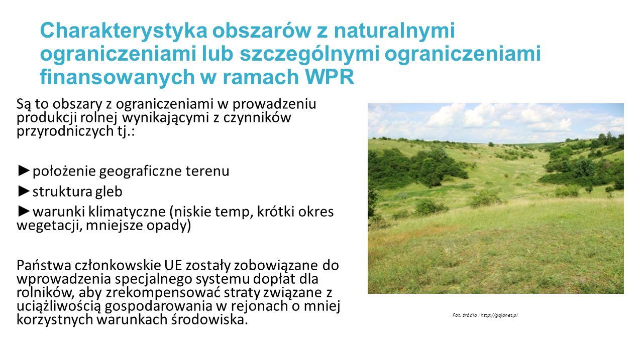 Charakterystyka obszarów z naturalnymi ograniczeniami lub szczególnymi ograniczeniami finansowanych w ramach WPR