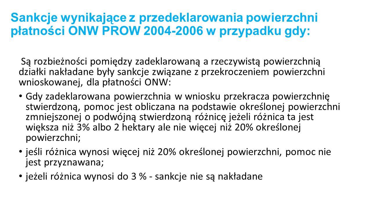 Sankcje wynikające z przedeklarowania powierzchni płatności ONW PROW 2004-2006 w przypadku gdy: