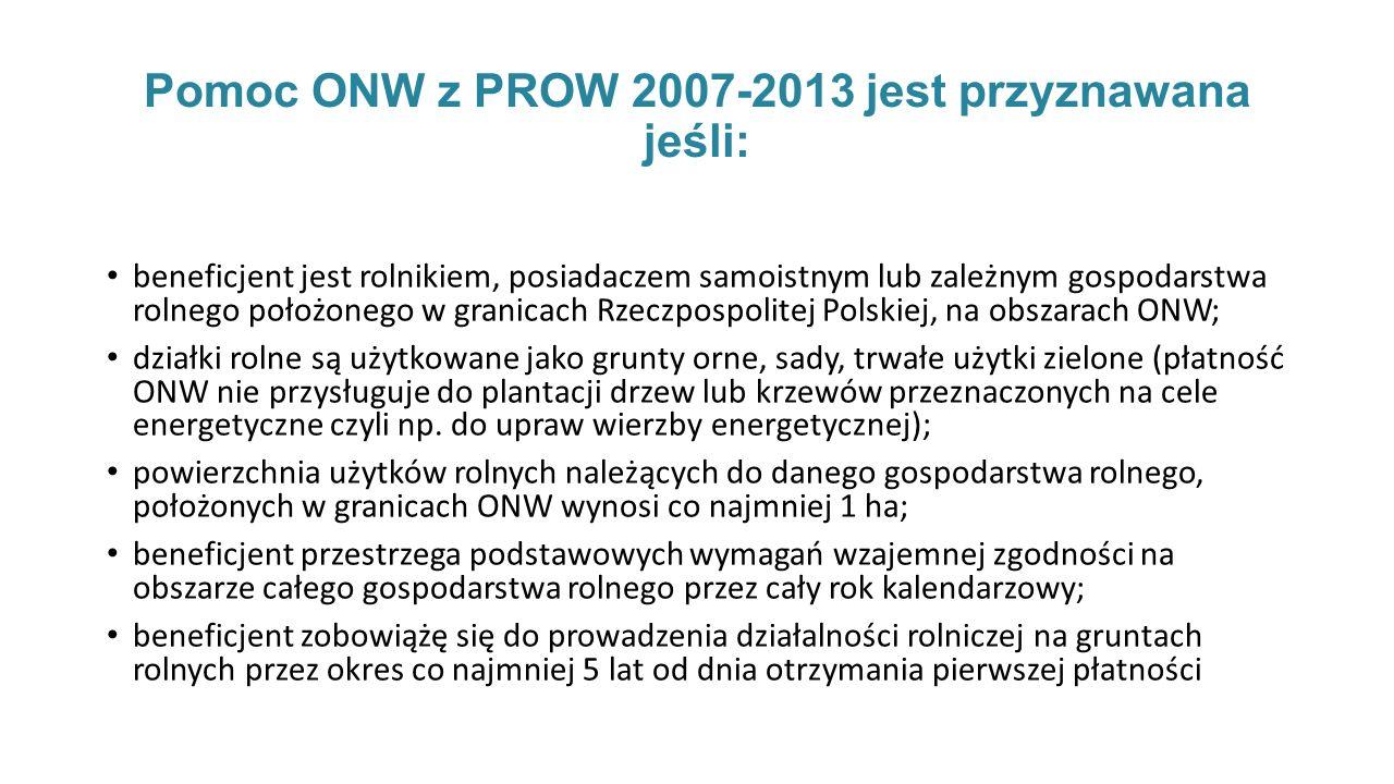 Pomoc ONW z PROW 2007-2013 jest przyznawana jeśli: