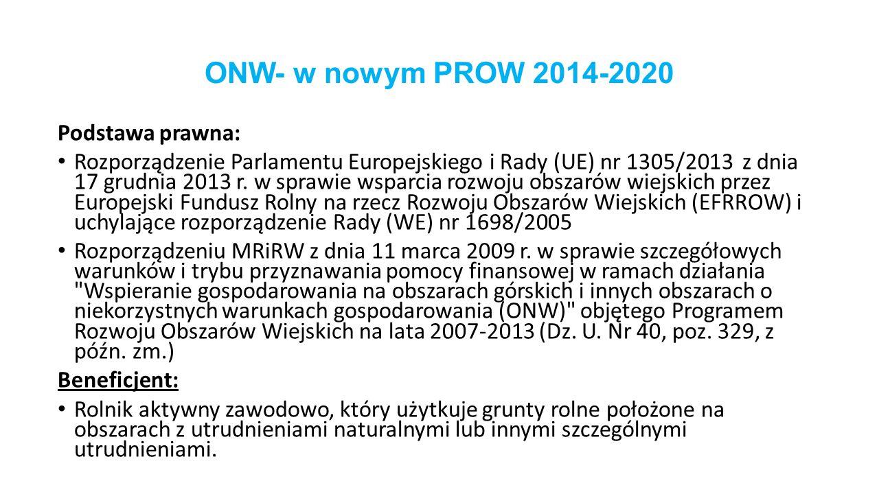 ONW- w nowym PROW 2014-2020 Podstawa prawna: