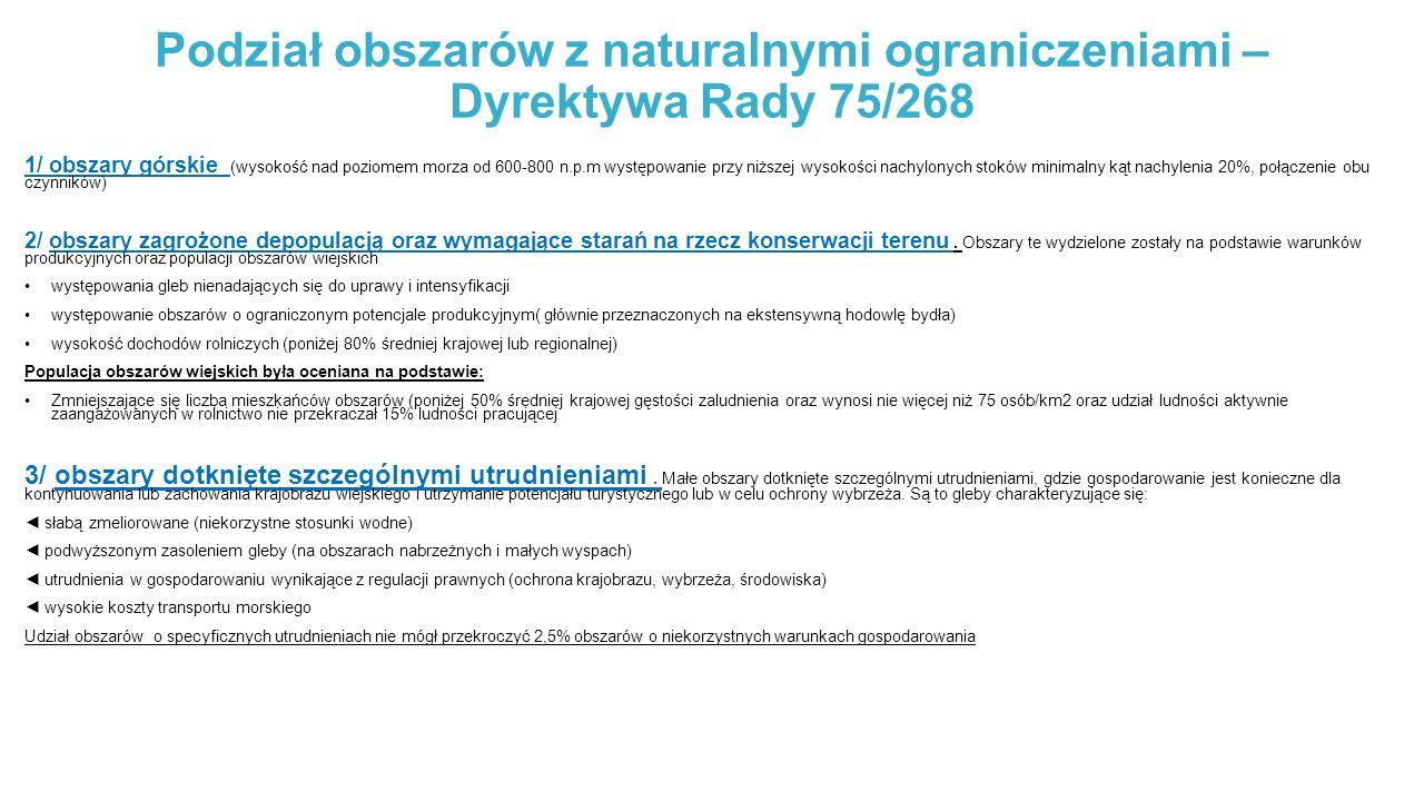 Podział obszarów z naturalnymi ograniczeniami – Dyrektywa Rady 75/268